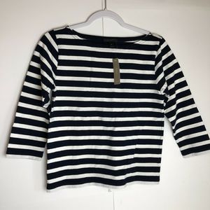 J. Crew Striped Black And White top NWT